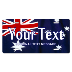 Personalized Australian Flag License Plate for Bicycles, Kid's Bikes, Carts, Cars or Trucks
