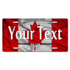 Personalized Canadian Flag License Plate for Bicycles, Kid's Bikes, Carts, Cars or Trucks