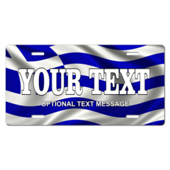 Personalized Greece Flag License Plate for Bicycles, Kid's Bikes, Carts, Cars or Trucks
