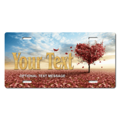 Personalized Heart Shaped Tree License Plate for Bicycles, Kid's Bikes, Carts, Cars or Trucks