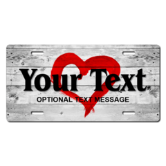 Personalized Heart Background License Plate for Bicycles, Kid's Bikes, Carts, Cars or Trucks
