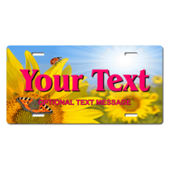 Personalized Sunflower/Butterfly License Plate for Bicycles, Kid's Bikes, Carts, Cars or Trucks