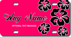 Personalized Pink Background / Black Hawaiian Flowers License Plate for Bicycles, Kid's Bikes, Cart