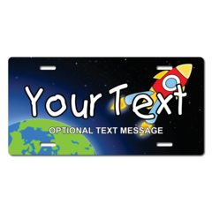 Personalized Rocket and Earth License Plate for Bicycles, Kid's Bikes, Carts, Cars or Trucks