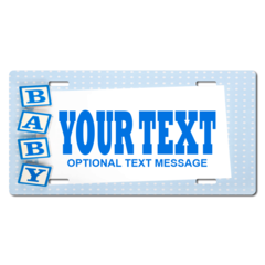 Personalized Blue Baby Block License Plate for Bicycles, Kid's Bikes, Carts, Cars or Trucks