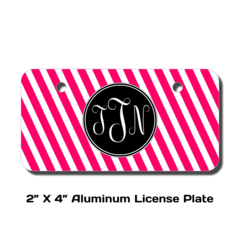 Personalized Stripes Monogram License Plate for Bicycles, Kid's Bikes, Carts, Cars or Trucks