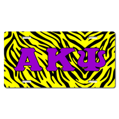 Personalized Zebra Print Background Greek Letters License Plate for Bicycles, Kid's Bikes, Carts, Ca