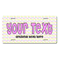 Personalized Pastel Hearts License Plate for Bicycles, Kid's   Bikes, Carts, Cars or Trucks