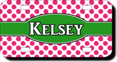 Personalized Pink Polka Dots License Plate for Bicycles, Kid's Bikes, Carts, Cars or Trucks