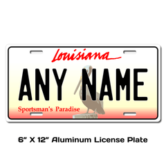 Personalized Louisiana 6 X 12 License Plate
