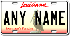 Personalized Louisiana License Plate for Bicycles, Kid's Bikes, Carts, Cars or Trucks Version 2