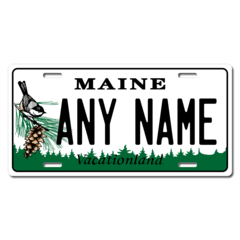 Personalized Maine License Plate for Bicycles, Kid's Bikes, Carts, Cars or Trucks