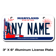 Personalized Maryland 3 X 6 License Plate