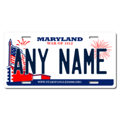 Personalized Maryland License Plate for Bicycles, Kid's Bikes, Carts, Cars or Trucks Version 2