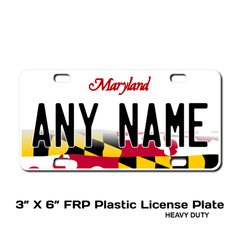 Personalized Maryland 3 X 6 Plastic License Plate