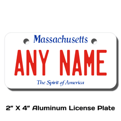 Personalized Massachusetts 2 X 4 License Plate