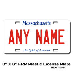 Personalized Massachusetts 3 X 6 Plastic License Plate