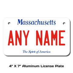 Personalized Massachusetts 4 X 7 License Plate