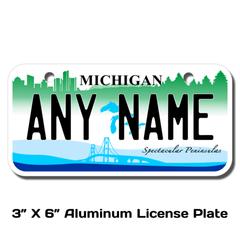 Personalized Michigan 3 X 6 License Plate
