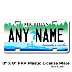 Personalized Michigan 3 X 6 Plastic License Plate