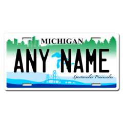Personalized Michigan License Plate for Bicycles, Kid's Bikes, Carts, Cars or Trucks Version 2