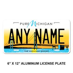 Personalized Michigan 6 X 12 License Plate