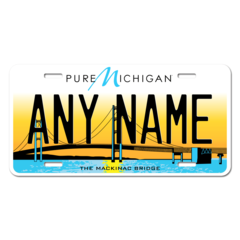 Personalized Michigan License Plate for Bicycles, Kid's Bikes, Carts, Cars or Trucks Version 5