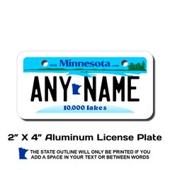 Personalized Minnesota 2 X 4 License Plate