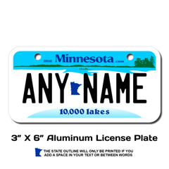 Personalized Minnesota 3 X 6 License Plate