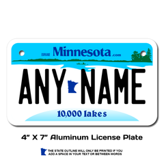 Personalized Minnesota 4 X 7 License Plate
