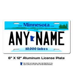 Personalized Minnesota 6 X 12 License Plate