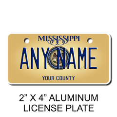Personalized Mississippi 2 X 4 License Plate
