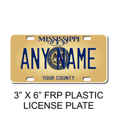 Personalized California 3 X 6 Plastic License Plate