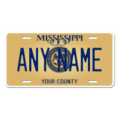 Personalized Mississippi License Plate for Bicycles, Kid's Bikes, Carts, Cars or Trucks