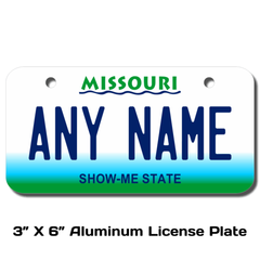 Personalized Missouri 3 X 6 License Plate
