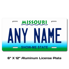 Personalized Missouri 6 X 12 License Plate