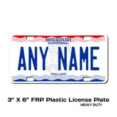 Personalized Missouri 3 X 6 Plastic License Plate