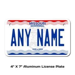 Personalized Missouri 4 X 7 License Plate