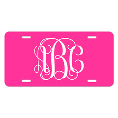 Hot Pink Personalized Vine Monogram Font License Plate - Sizes for Cars, Trucks, Bikes and mini cars