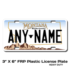 Personalized Montana 3 X 6 Plastic License Plate