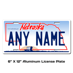 Personalized Nebraska 6 X 12 License Plate