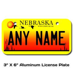 Personalized Nebraska 3 X 6 License Plate