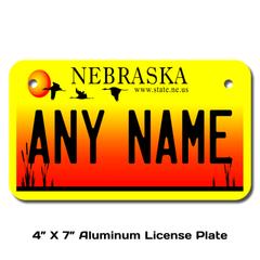 Personalized Nebraska 4 X 7 License Plate