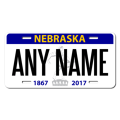 Personalized Nebraska License Plate for Bicycles, Kid's Bikes, Carts, Cars or Trucks version 3