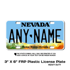 Personalized Nevada 3 X 6 Plastic License Plate