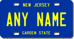Personalized New Jersey License Plate for Bicycles, Kid's Bikes, Carts, Cars or Trucks Version 2