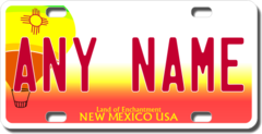 Personalized New Mexico License Plate for Bicycles, Kid's Bikes, Carts, Cars or Trucks Version 2