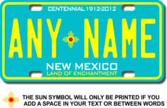 Personalized New Mexico License Plate for Bicycles, Kid's Bikes, Carts, Cars or Trucks Version 3