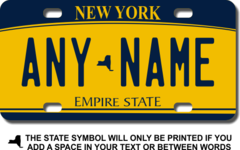 Personalized New York License Plate for Bicycles, Kid's Bikes, Carts, Cars or Trucks Version 2