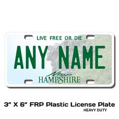 Personalized New Hampshire 3 X 6 Plastic License Plate